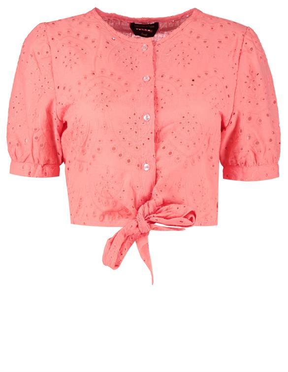 Colourful Rebel Jo Cropped Broderie Anglaise Blouse 10330