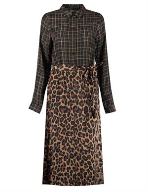 Geisha Dress long with check and leopard 07633-20