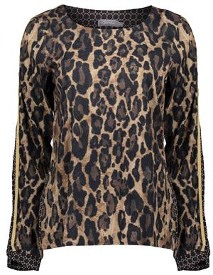 Geisha Top prints leopard & tape at arm 03938-20